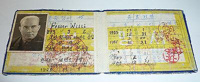 China Ausweis mit Foto Willi Fessler Stempel & Eintragungen 1903-1909 Asiatika