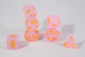 Sparkling Glitter Pink with Gold Numbers Poly Dice Set (7) RPG DnD d4 d6 d20