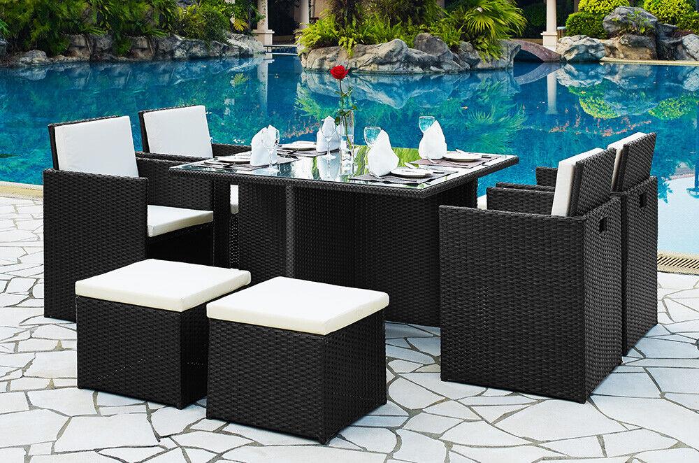 Garden Furniture - Outdoor Rattan Cube Dining Set 4 Chair & Stool Garden Conservatory Furniture