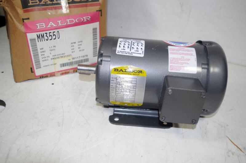 BALDOR 1.1HP AC MOTOR # MM3550  208-230/460VAC 60HZ.  3450RPM