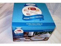 NEW Dema Artisan Collection 12 Piece Porcelain Cheese Serving Gift Set - Butter Dish Plate Dome