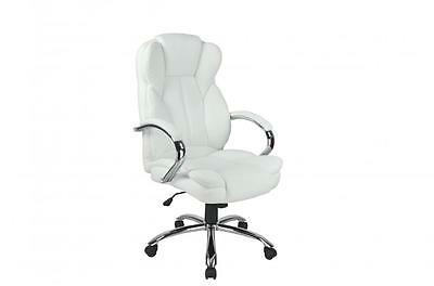 White High Back PU Leather Executive Office Desk Computer Chair w/Metal Base (Metal Desk Chair)