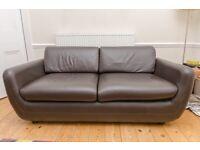 Brown Leather Habitat 3 piece suite