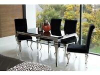 Black Glass Dining Table inc 6 Chairs