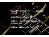 Aberdeen, Kingswells, Westhill and Blackburn special Christmas guitar lessons, tuition and classes