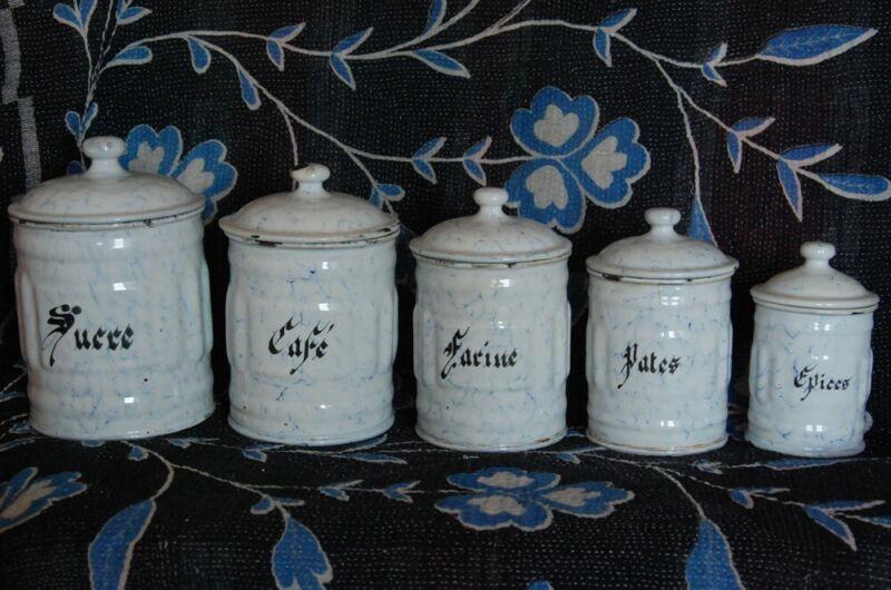 FRENCH ANTIQUE CANISTER SET ~ BLUE & WHITE FLUTED VINTAGE ENAMELWARE