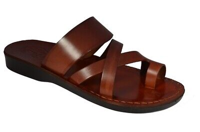 Men's Biblical Jerusalem Sandals Natural Genuine Leather Handmade 6-15 sizes