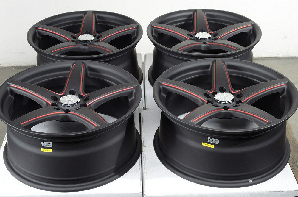 17 5x114 3 5x100 Wheels Matte Black RX8 Protege Maxima Avalon Red RSX Rims