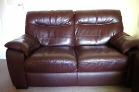 Sofa brown leather 2 seater. FREE delivery within 10 miles.