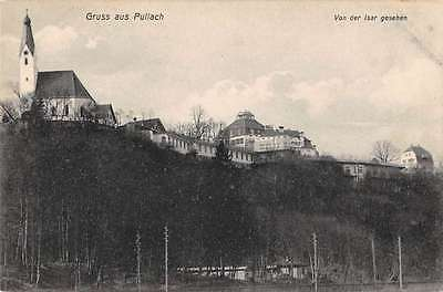 Pullach Bavaria Germany Gruss aus view from Isar River antique pc Y12313