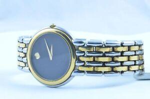 Cuarzo-Movado-Museum-mujer-Watch-Reloj-Raro-Acero-Superior-25mm-ORO