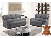 *COME AND VIEW IT,TRY IT THEN BUY IT*BRAND NEW GREY FULL LEATHER RECLINER 3+2 SOFA SUITE + DELIVERY