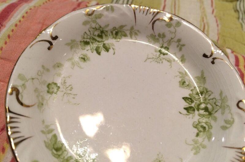 Meakin Vintage Lime Floral Butter Pat Royal Semi-Porcelain England Crown Mark