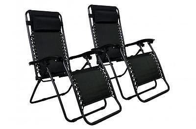 Zero Gravity Chairs Case Of (2) Black Lounge Patio Chairs Outdoor Yard Beach O85 Home & Garden