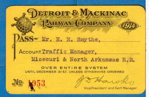 "1914 Detroit & Mackinac Railway - ""The Turtle Route""  Annual Railroad Pass"