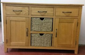 NEW Beautiful Solid Oak & Oak Veneer Sideboard with Two Removable Baskets