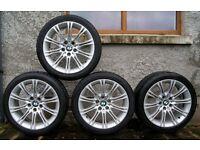 "BMW E60 E61 2004-2010 5 seies Genuine M sport MV2 18"" alloy wheels + tyres"