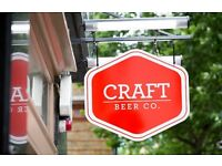 PART TIME BAR STAFF NEEDED AT THE CRAFT BEER CO. CLERKENWELL, IMMEDIATE START, APPROX 20 HOURS