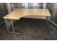 Beech Curved Office Desk - W160xD120xH73cm