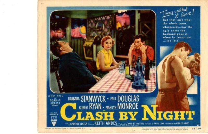 Clash By Night 1952 Original Release Lobby Card Noir Stanwyck No Marilyn Monroe
