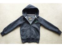 GREAT SUPERDRY HOODIE SMALL HOODED TOP SWEAT SHIRT GREY MARL SUPER DRY YOUTH LARGE BOYS HOODY VGC