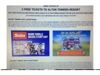 2x Alton Towers tickets for Fri 7th July 17