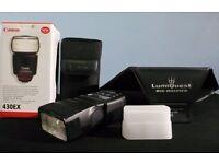 Genuine Canon 430EX Speedlite Flash with original accessories, box, Lumiquest Big Bounce & filter