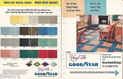 1952 GOODYEAR Vinyl Tile FLOORING Modern Kitchen Bathroom Colors Vintage Catalog