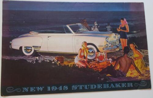 Original 1948 Studebaker folding Sales Brochure-Poster,models,specs,all color,VG
