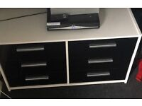White drawers with black gloss