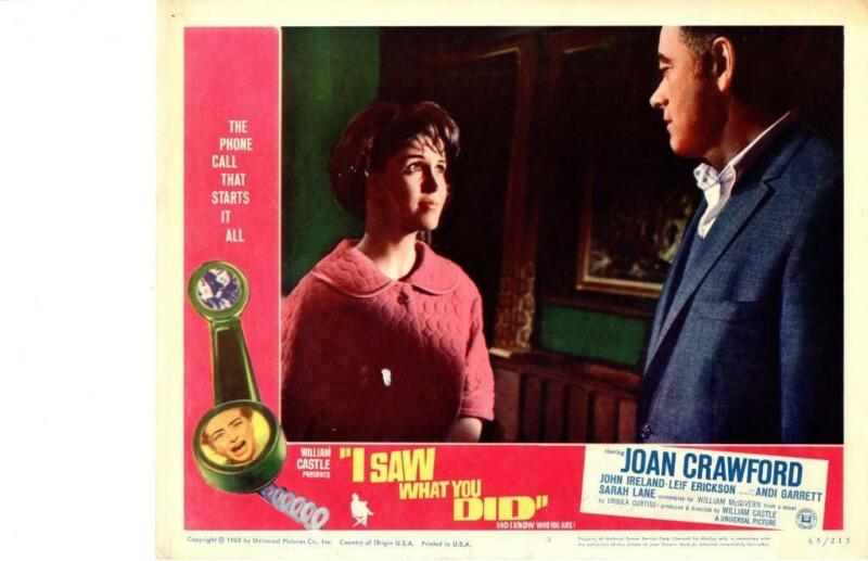 I Saw What You Did 1965 Original Release Lobby Card Joan Crawford Horror Castle