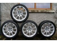 "BMW E60 2004-2010 5 series Genuine M sport MV2 18"" alloy wheels + tyres 609 O.NO"