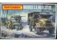 Matchbox PK-172 Morris C.8.MkII & 17 pdr Gun Willy's Jeep - 1-76 Scale 3 colour model kit (1977)