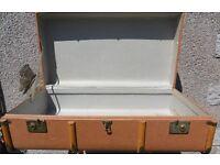 Light Brown lighweight wooden banded trunk