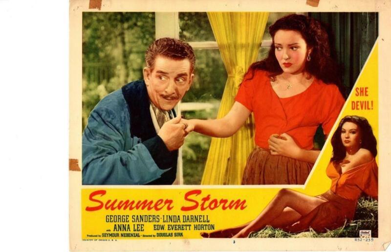Summer Storm 1952 Re-Release Lobby Card Linda Darnell George Sanders