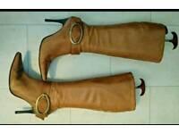 Faith Ladies brown leather knee boots sz5