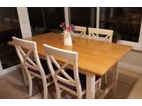 Cream + wood dining table & 6 chairs