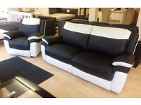 SCS Leo 3+1 Seater , TWO-TONE Black & Cream Leather ELECTRIC RECLINING SUITE + FREE LOCAL DELIVERY