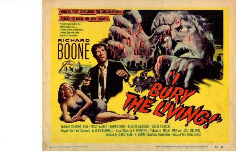 I Bury The Living 1958 Original Release Title Lobby Card Horror Richard Boone