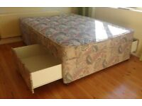Double bed divan with two drawers for storage and mattress protector
