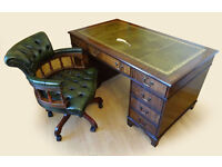 Antique Style Real Leather Top Pedestal Writing Desk (Key) & Captains Chair