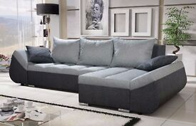 Corner sofa bed sofa bed UK STOCK 1-5 DAY DELIVERY Lugano Grey