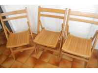 3 Beech Folding Chairs - £10 each