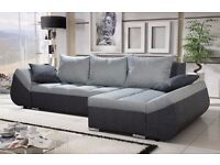 "Corner sofa bed sofa bed UK STOCK 1-5 DAY DELIVERY ""LUGANO"" GREY"