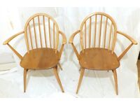 Ercol Windsor armchairs carvers pair 2 x model 370A vintage retro 1960s hoop-back kitchen dining