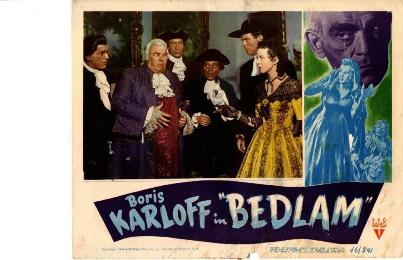 Bedlam 1946 Original Release Lobby Card Horror Boris Karloff