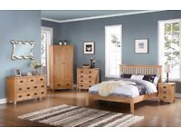 NATURAL OAK SELECTION OF FURNITURE READY ASSEMBLED 3 DOOR 2 DRAWER WARDROBE