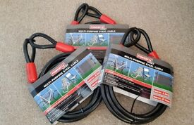 POWERFIX Steel Cables New on original packaging x3 + Padlocks