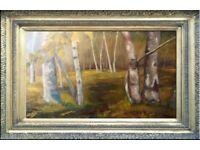 Birches Oil Painting Stretched Canvas 91x61cm Landscape Impressionist
