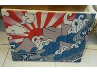 Cnavas Print - Large red, white and blue sea and sun canvas print